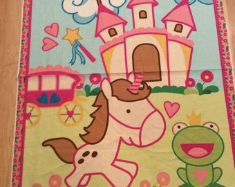 An Adorable Unicorn In Fantasy Land With A Castle Cotton Fabric Panel Free US Shipping