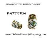 Beaded Thimble with Swarovski Rivoli Top - Delica Beads PDF PATTERN - Square Stitch - Vol.25 - The Olive Fish Thimble