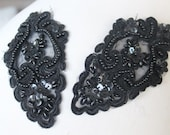 Cute embroidered  and beaded organza flower   applique  black  color 2  pieces listing