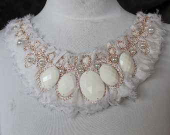 Cute embroidered   and beaded  chiffon  applique ivory color