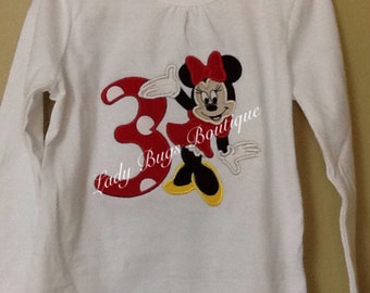 Minnie Mouse Birthday Shirt with Number and Name*****Please Read Shop Announcement*****