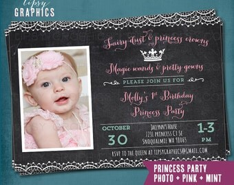 Princess Party. Chalkboard Lace Birthday Party Invite by Tipsy Graphics. Fairy Dust & Magic Wands