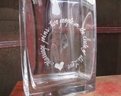 Hand Engraved Glass Vase - Personalized - Large Initial, words or design
