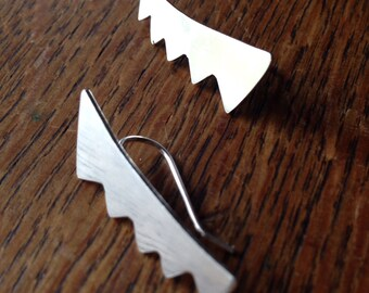 Jagged Metal Ear Clip, Solid Sterling silver, Handmade