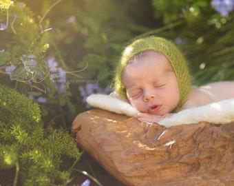 Newborn Mohair Bonnet -  Newborn Bonnet - Newborn Knitted Mohair bonnet - Newborn Photography Props- Baby Knit Mohair Hat