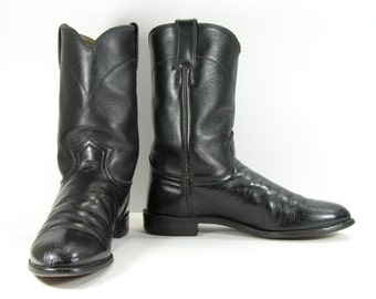 justin roper cowboy boots womens 9.5 M black ropers western leather mens 8 D work cowgirl
