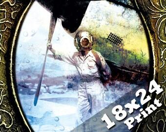 Underwater art scuba diving old antique photo industrial nautical decor steampunk poster | mariner deep sea diver steam punk art 18x24 print