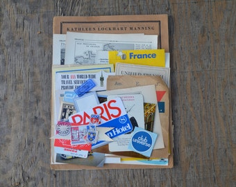France Vintage Travel Pack- Vintage paper ephemera lot  Paper pack french, phamplet, stickers, stamps, photos, postcards, music sheets,