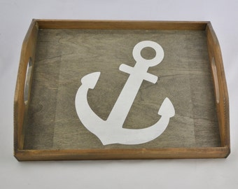 Nautical Anchor Stained Wooden Serving tray with handles, breakfast tray