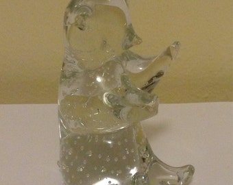 Swedish Art Glass Figurine Konstglas Crystal Bear