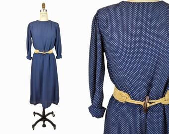 Vintage 80s Polka Dot Dress / Navy Blue Dress