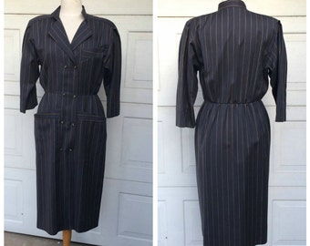 Charcoal Gray Pinstripe Suit Dress 80s 90s Vintage Menswear Tailored Wool Shirt Dress with Pockets Women Medium Large