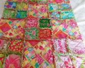 Lilly Pulitzer Little girl Rag Quilt 25 different Lilly fabrics Diamond Head Patch