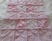 Light pink and polka dot Shabby Chic baby girl rag quilt