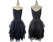"1950s Junior Theme Originals Black Organza and Silk Taffeta Dress Party Prom 36"" Bust"