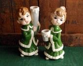 Girl and Boy Caroler Candle Holders, Retro Christmas Decor, Christmas Decoration, Christmas Candle Holder Figurine display