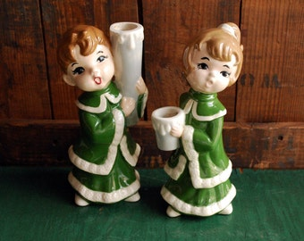 Girl and Boy Caroler Candle Holders, Retro Christmas Decor, Christmas Decoration, Christmas Candle Holder Figurine display