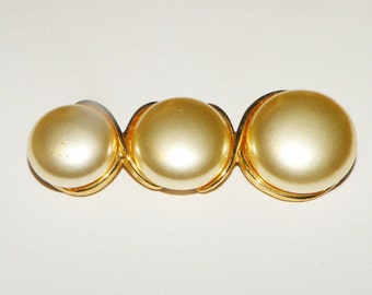 Napier Signed tapered gold and pearl pin