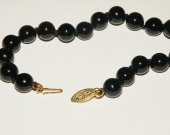 Black glass Beaded Bracelet Sterling Clasp