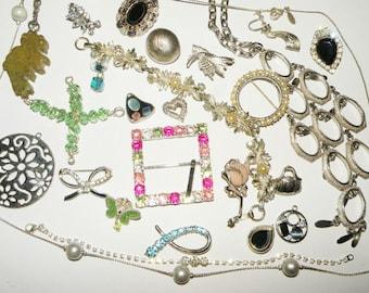 Rhinestone Jewelry lot, repair, repurpose, upcycle, assemblage, destash lot