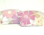 Extra Large Domed Make-Up Bag Set; Light Plum and Orchid Flowers on Putty Background