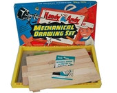 """1960s Handy Andy Mechanical Drawing Set - Toy Drafting Set """"Great Graphics"""""""