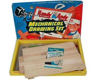 "1960s Handy Andy Mechanical Drawing Set - Toy Drafting Set ""Great Graphics"""