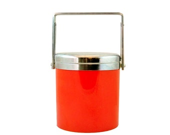 Mid Century Mod Elco Ice Bucket - Bright Red & Chrome