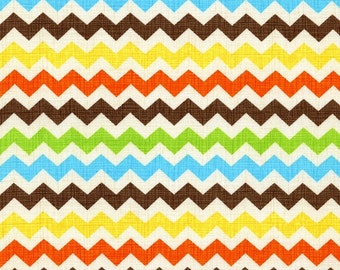 Ziggy Zig Fiesta by Timeless Treasures 100% Cotton Fabric in Yard 3/4 Half and 4th a Yard for Quilting/ Sewing/ BrownGreen Yellow and Orange