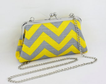 Yellow and Grey Chevron Zigzag Clutch with a Detachable Chain - the Christine Style Clutch