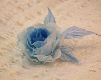 Silk brooch frozen rose