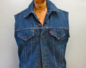 Vintage 1970s Levis Red Tab Denim Jean Vest, Size M