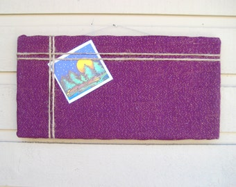 Bulletin Board with Purple sparkle burlap with an accent of natural jute twine, great design for the younger girls, cottage chic bedroom