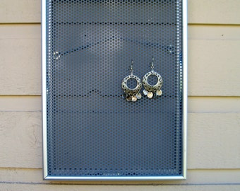 Metal framed Earring Holder and Jewelry display organizer, also magnet board, modern silver metal decor, message center for photos