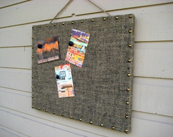Masculine Magnet Board in Herringbone, with upholstery tack detailing, for a mans den or loft office, browns and blacks, guys gift idea