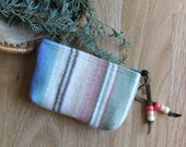 Medicine Bag, Totem Pouch, Coin Zippered Change Purse Agave Stripe 5 x 3