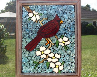 Stained Glass Mosaic Cardinal Tree Repurpose Frame Window