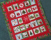 Advent Calendar Christmas Decoration Wallhanging, Fabric Advent Calendar, Scandinavian Christmas