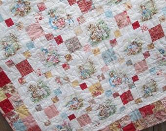 Baby Girl Quilt, Peter Rabbit Jemima Puddleduck Mrs Rabbit, Cottage Chic Quilt, Beatrix Potter Nursery
