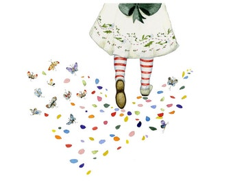 Party Dress Girls Flower petal and Butterfly Footprints print 8x11 Giclee print