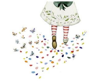 Party Dress Girls Flower petal and Butterfly Footprints print 8x11 Giclee print