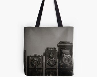 Vintage Camera Tote - Camera Lovers Bag, Photographer Gift, Camera Bag, Tote Bag, Christmas Gift