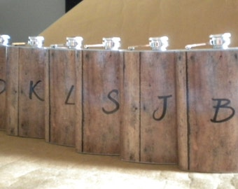 Personalized Set of 6 Groomsmens Gift Flasks 8 ounce Stainless Steel Rustic Country Western Gift Flask with Vinyl Initial KR2D 7667