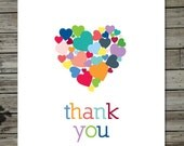 Colorful Hearts Thank You Card