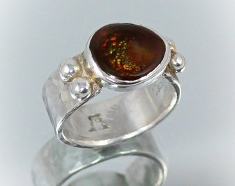 Galaxy of Bubbles Ring, Large Mexican Fire Agate set in Fine Silver with 10 k. Gold Accents SIZE 11- 11.5