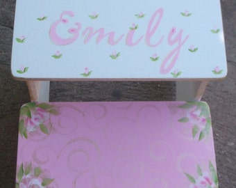 Pink Kids Furniture Steps & Stools Benches CUSTOM Pink GOLD Roses Cottage Chic childs step stool Bench  Kids Furniture and Decor