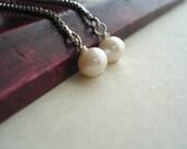 Long Pearl Earrings Freshwater Pearl Earrings Dangle Silver Earrings Bridal Gift Idea Boucles D'oreilles en Perle Argent