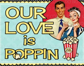 Printable DIY Customized Retro Housewife Popped the Question Popcorn card 5x7
