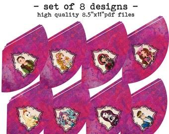 Printable DiY Rebel Royal Theme Party Hats - set of 8 designs INSTANT DOWNLOAD