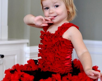 Red Ruffled Petti Tube Top with Straps-sizes 0-6Y